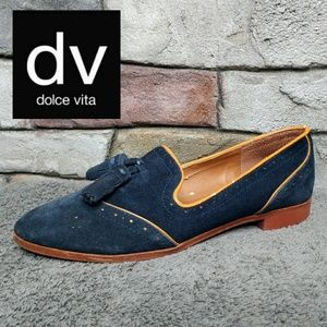 Dolce Vita Blue Suede Tassel Slip On Flats Size 7
